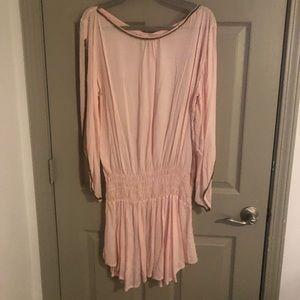 Elan - blush - embellished sleeve - cinched waist